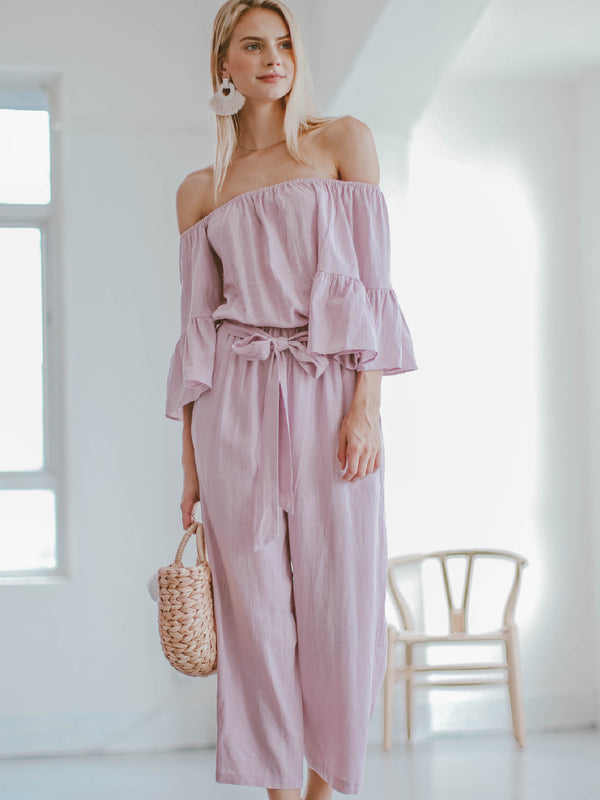Goodnight Macaroon 'Brianna' Off The Shoulder Tied Front Jumpsuit Model Full Body