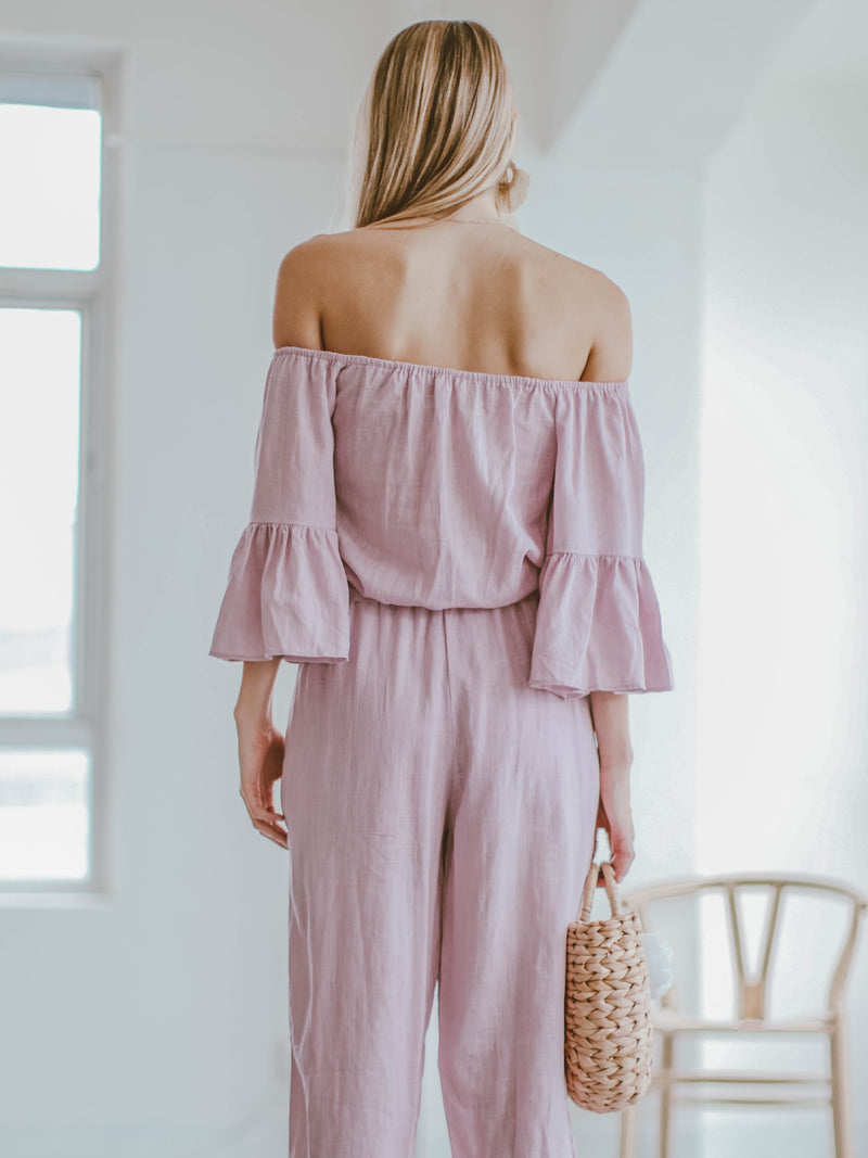 Goodnight Macaroon 'Brianna' Off The Shoulder Tied Front Jumpsuit Model Back