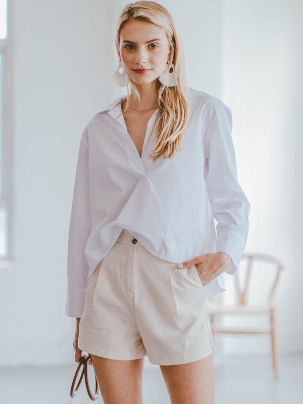 'Olivie' White Oversized Shirt