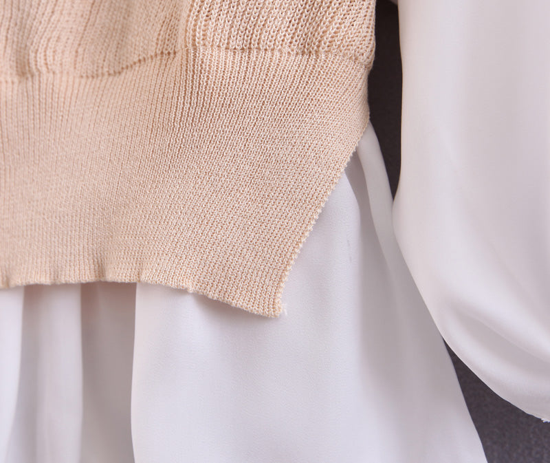 Goodnight Macaroon 'Gill' Mock Knitted Vest Over Shirt Cream White Mock Layer