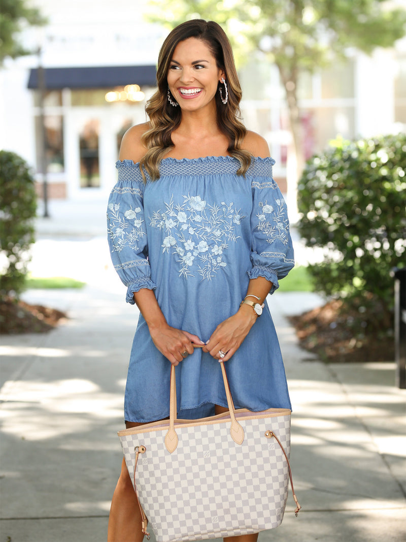 'Henna' Chambray Embroidered Dress by MUMU and Macaroons
