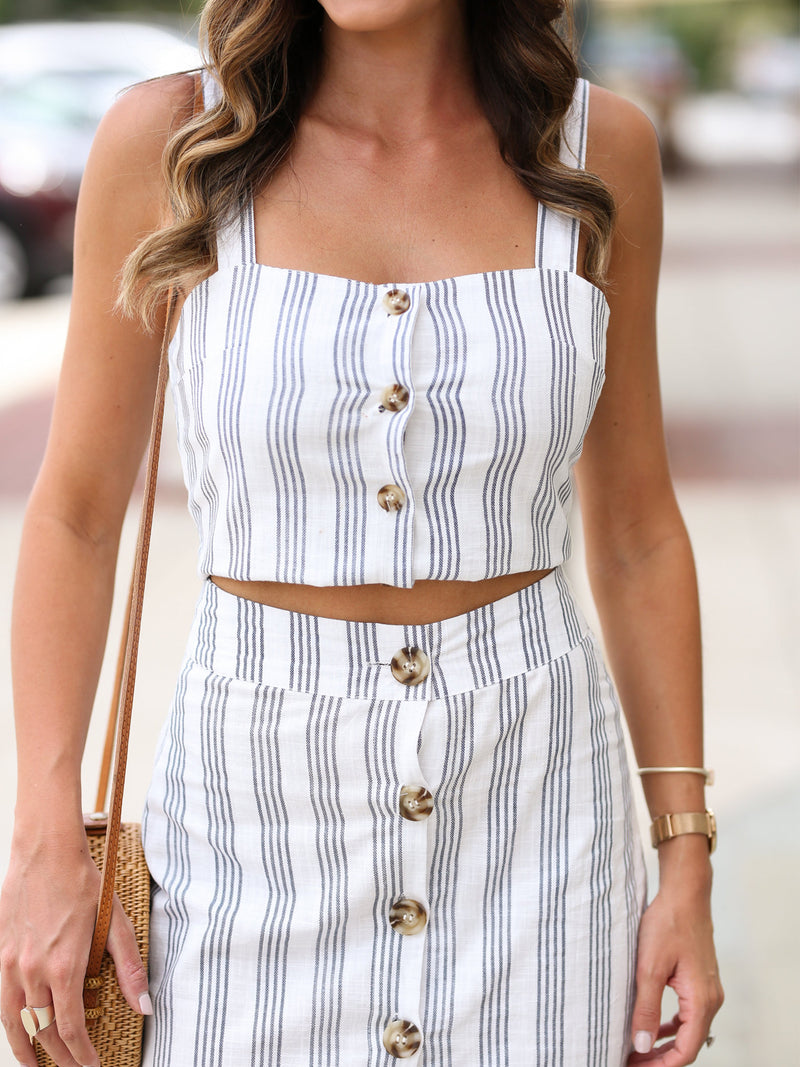 'Melissa' Striped Buttoned Down Two Piece Set by MUMU and Macaroons