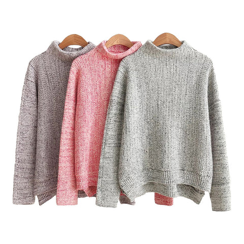 'Veronica' Marl Knit Mock Neck Sweater