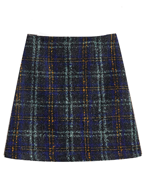 'Katie' Plaid Tweed Mini Skirt (2 Colors)