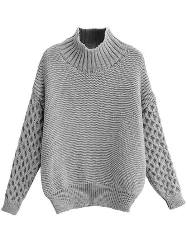 'Nicole' High Neck Thick Knitted Sleeves Sweater