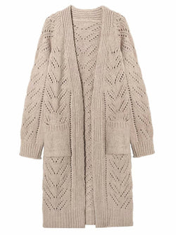'Zorka' Eyelet Pattern Cardigan With Pockets