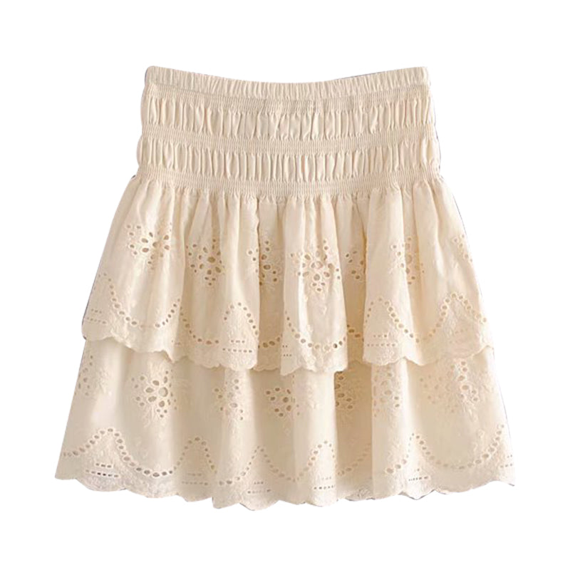 'Julia' Broderie Anglaise Flared Mini Skirt