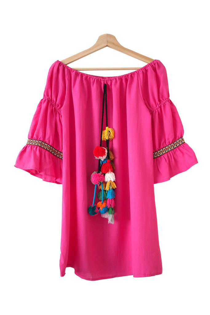 Goodnight Macaroon 'Tilda' Pom Pom Tassel Boho Off The Shoulder Dress