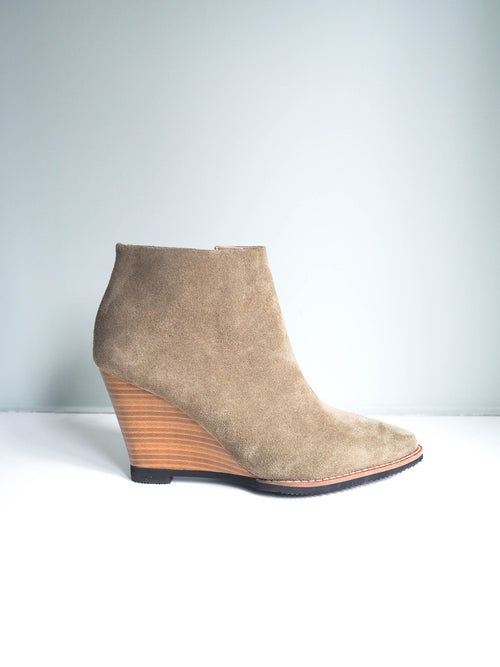 'Reese' Olivine Green Suede Leather Ankle Boots