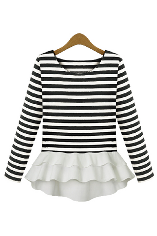 Fitted Stripe Ruffle Peplum Top - Goodnight Macaroon