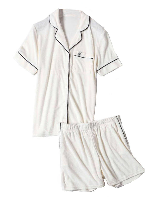 'Palmer' Short Sleeves V Neck PJ Set (3 Colors)