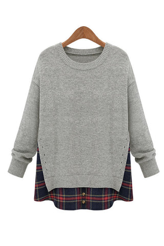 Heather Gray Side Slit Crewneck Red Plaid Sweater - Goodnight Macaroon