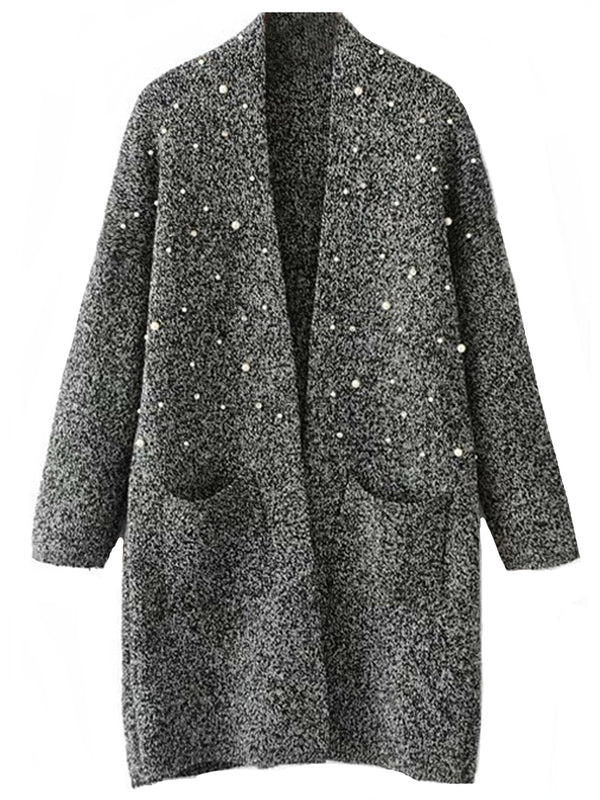 'Jennifer' Pearl Studded Open Cardigan with Pockets (4 Colors)