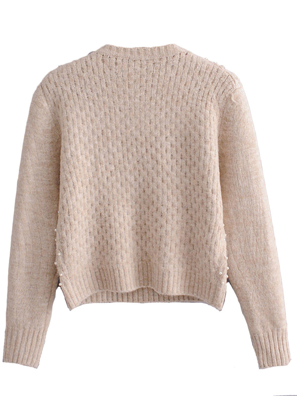 'Sonia' Pearl Studded Crew Neck Sweater