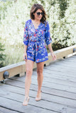 Jillian Harris  'Alison' Floral Kimono Criss Crop Wrap Front Playsuit Romper