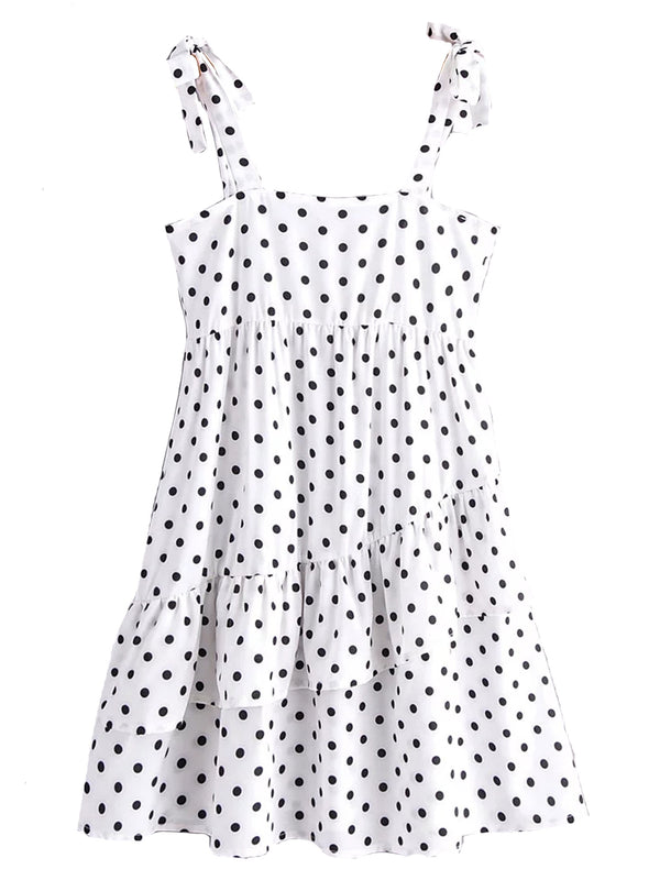 'Molly' Polka Dot Tie Strap Tiered Mini Dress