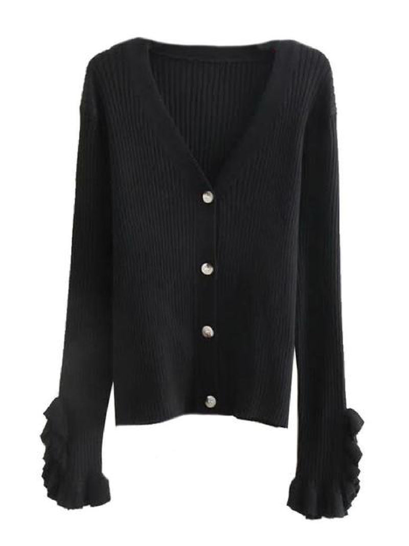 'Priscilla' Ruffled Cuffs Ribbed Cardigan (2 Colors)