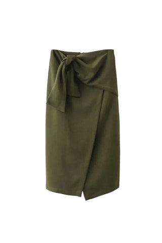 'Eudora' Tie Knot High Waist Midi Slit Pencil Skirt Military Green from Goodnight Macaroon