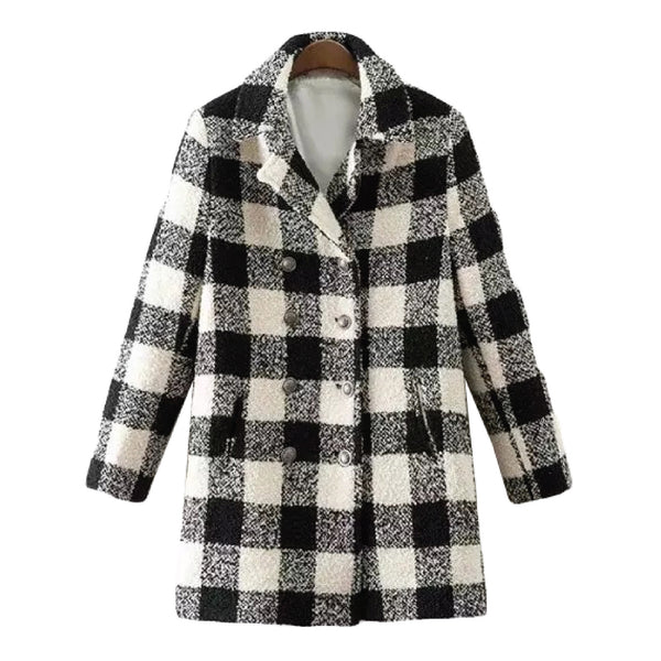 'Dosia' Checked Double Breasted Coat