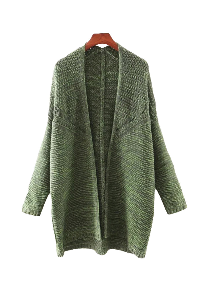 'Hailey' Green Marl Knit Cardigan Front from Goodnight Macaroon