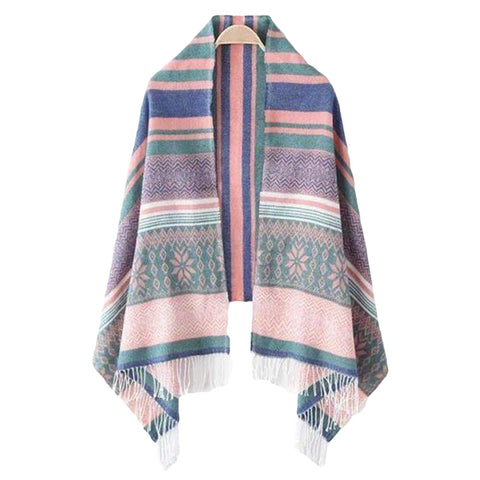 'Selma' Pink Snowflake Christmas Blanket Scarf - Front - Goodnight Macaroon