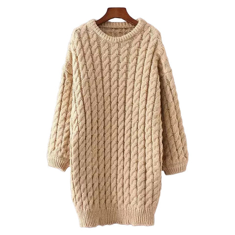 'Lassie' Ribbed Knit Long Line Sweater - Beige - Goodnight Macaroon