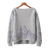 'Eliana' Embroidered Fuzzy Sweater
