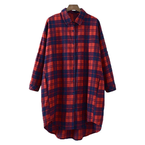 'Connie' Gingham Red Plaid Long Shirt - Goodnight Macaroon