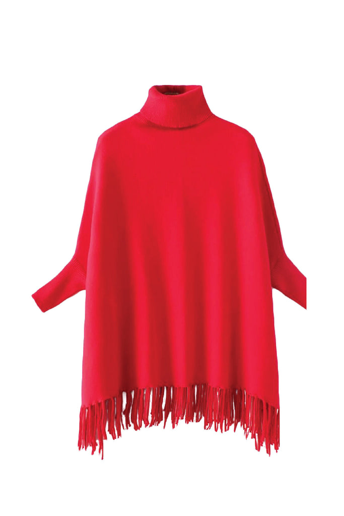 'Roberta' Turtleneck Fringe Cape Red from Goodnight Macaroon