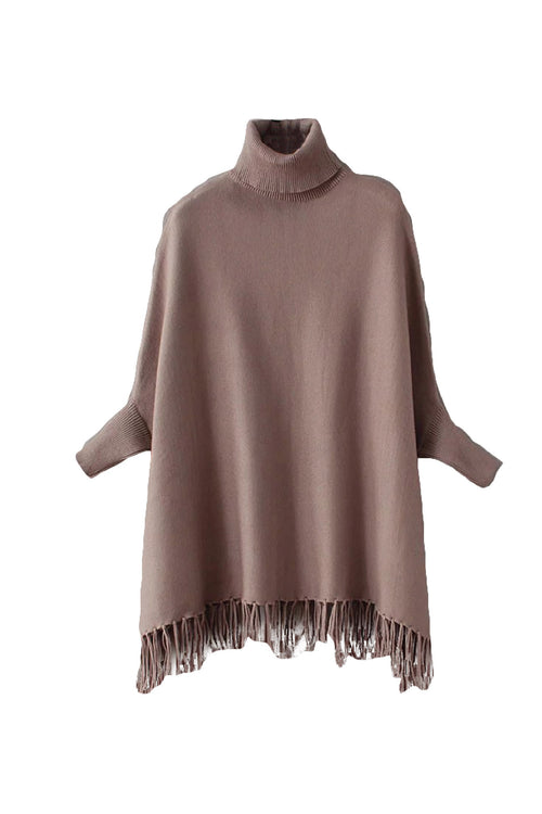 'Roberta' Turtleneck Fringe Cape Coffee Front from Goodnight Macaroon