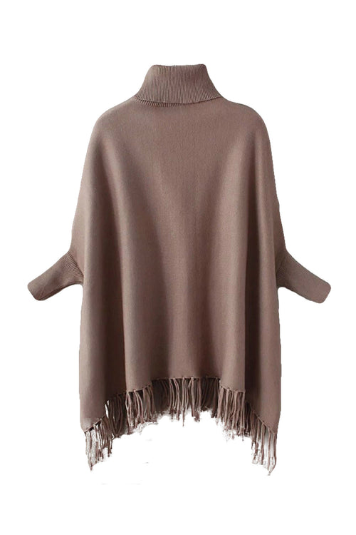 'Roberta' Turtleneck Fringe Cape Coffee Back from Goodnight Macaroon