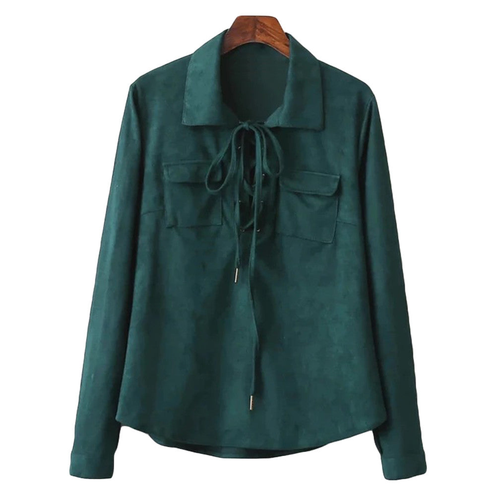 'Kay' Green Faux Suede Lace Up Shirt