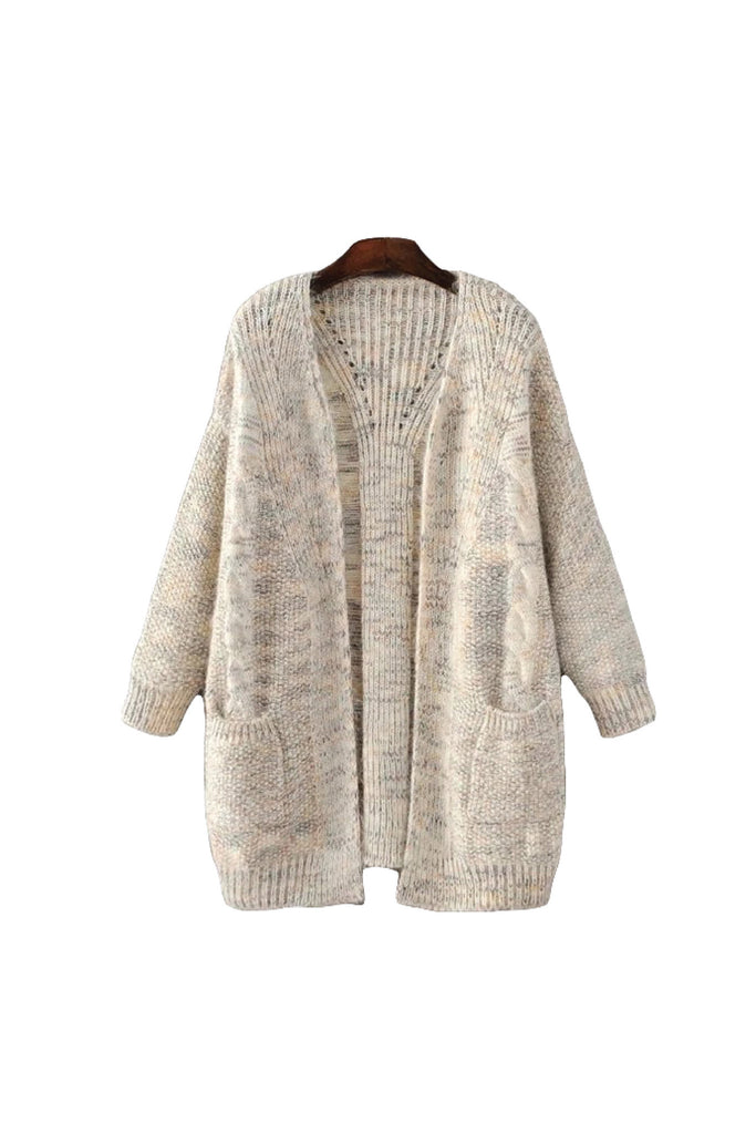 'Dulcie' Cable Knit Cream White Marl Cardigan Front from Goodnight Macaroon