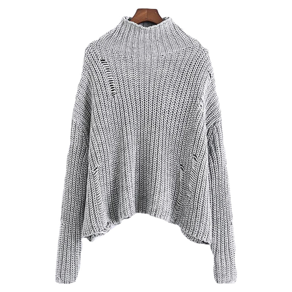 'Alison' Heather Gray Mock Neck Ribbed Sweater