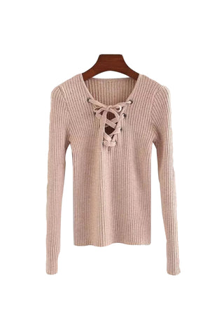 'Yvette' Lace Up Sweater