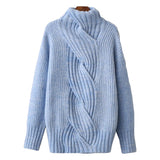 'Julia' Braided Mock Neck Cashmere Sweater