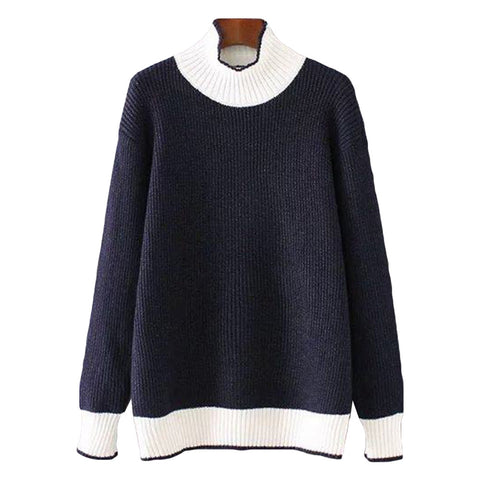 'Ruby' Turtleneck Sweater - Navy Blue - Back - Goodnight Macaroon