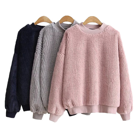 'Brandy' Fluffy Ribbed Crewneck Sweater - Goodnight Macaroon