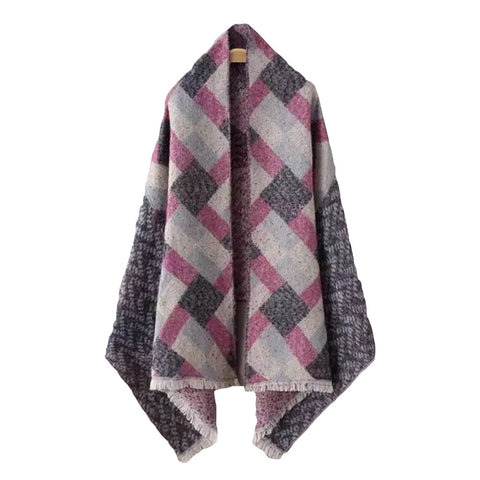 'Venice' Purple Plaid Cape - Front - Goodnight Macaroon