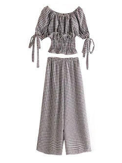 Goodnight Macaroon 'Rebecca' Gingham Off-the-Shoulder Top and Pants Set Front