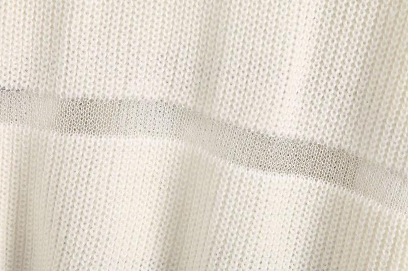 Goodnight Macaroon 'Trinity' Sheer Stripes Ribbed Sweater White Fabric