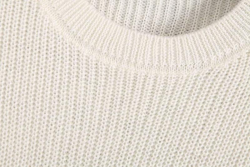 Goodnight Macaroon 'Trinity' Sheer Stripes Ribbed Sweater White Neckline