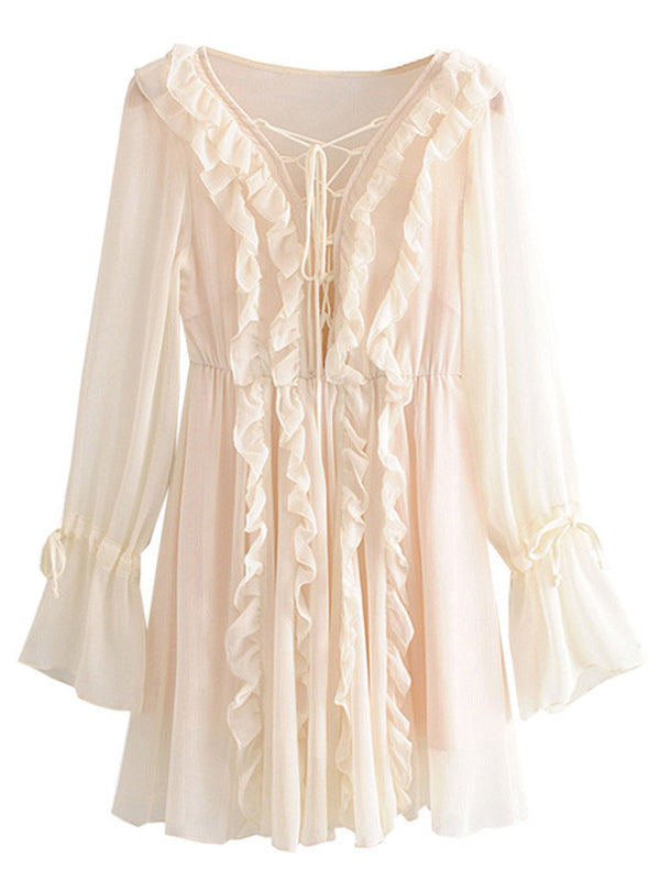 'Kristy' Ruffle Chiffon Tie Front Mini Dress