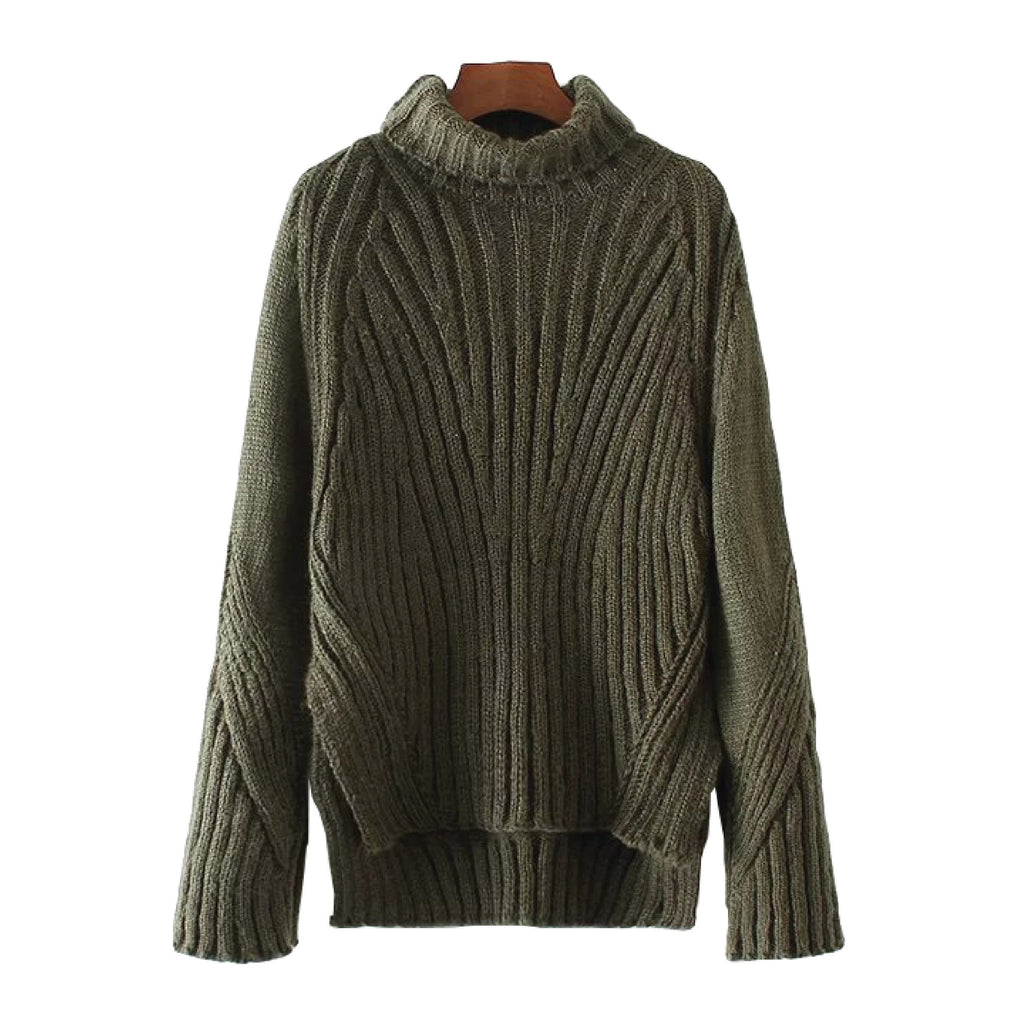 'Hampton' High Low Ribbed Knitted Turtleneck Sweater Military Green Goodnight Macaroon