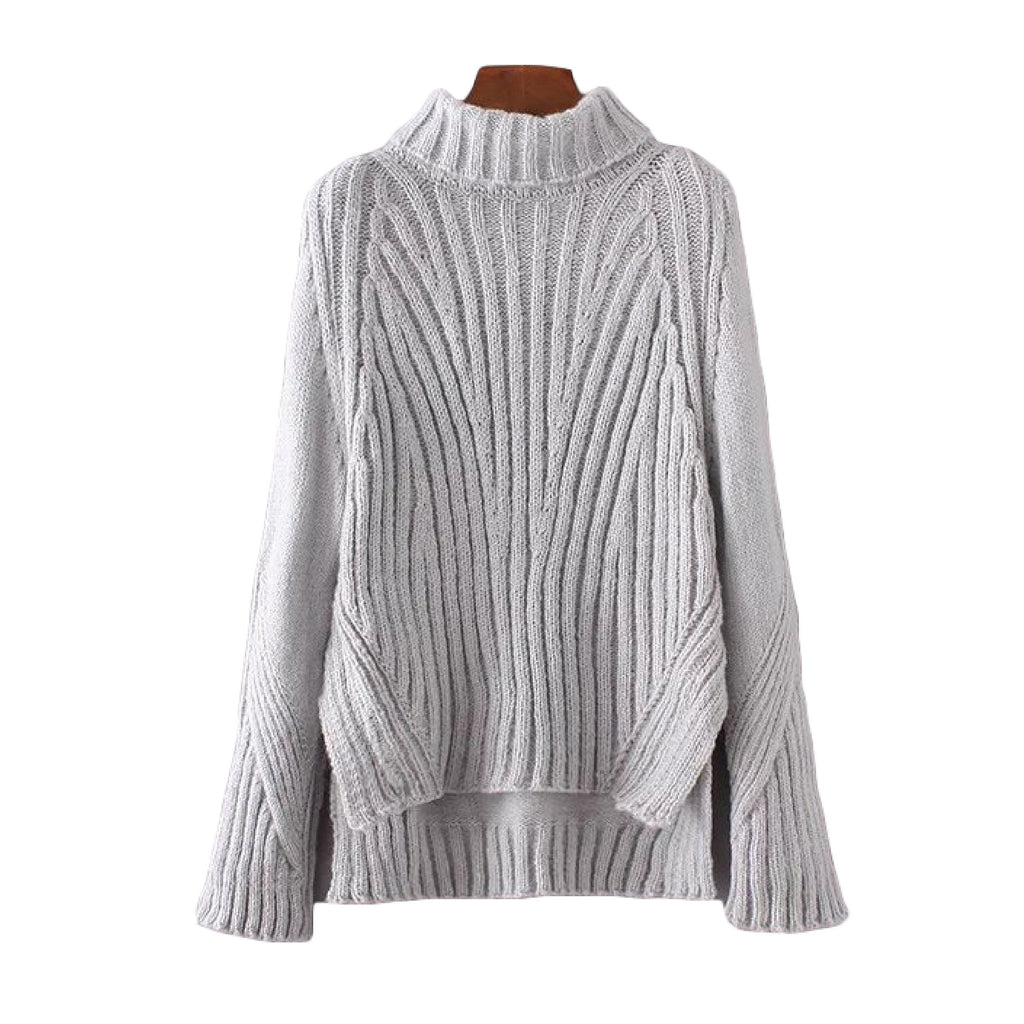 'Hampton' High Low Ribbed Knitted Turtleneck Sweater Heather Gray Goodnight Macaroon