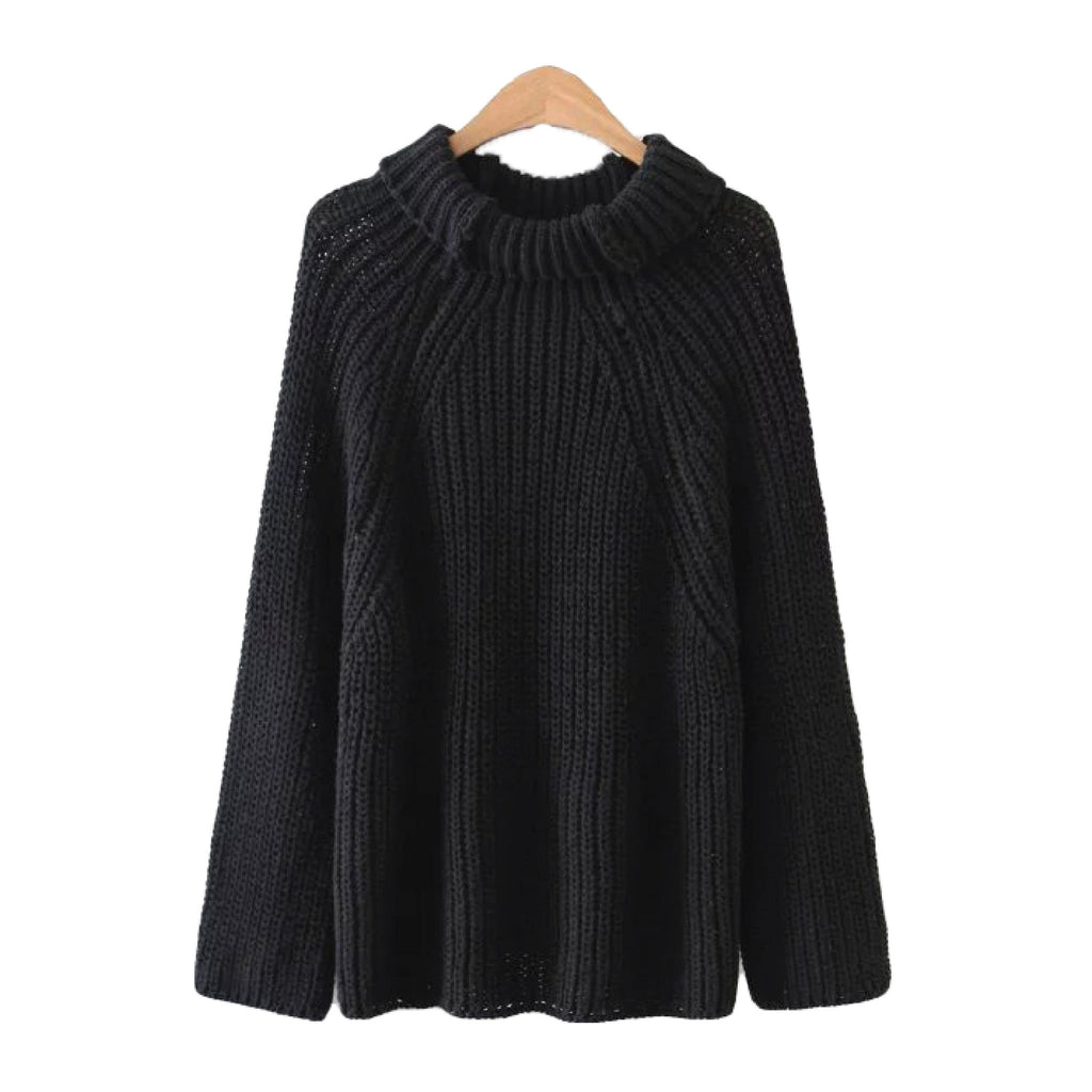 'Georgina' Ribbed Turtleneck Sweater - Black - Goodnight Macaroon
