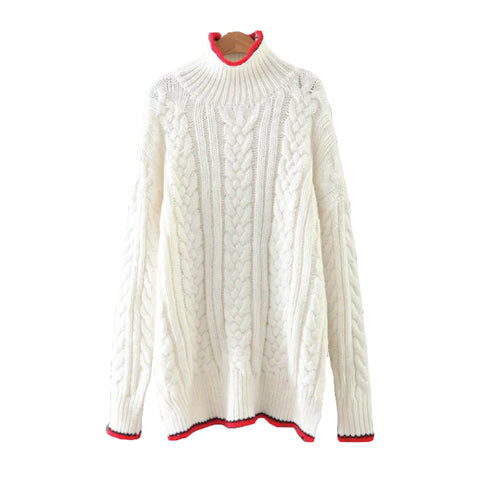 'Featherly' Ribbed Knitted High Neck Sweater - Goodnight Macaroon