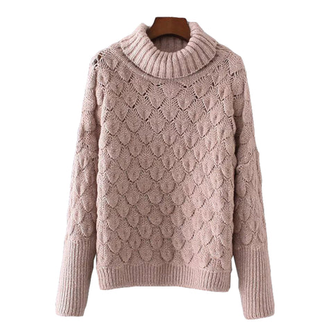 'Rebeka' Scallop Knitted Turtleneck Sweater Pink Front Goodnight Macaroon
