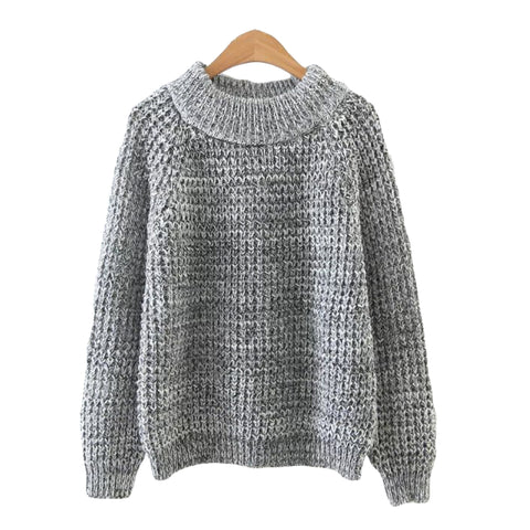 'Minky' Knitted Crewneck Sweater Heather Gray from Goodnight Macaroon