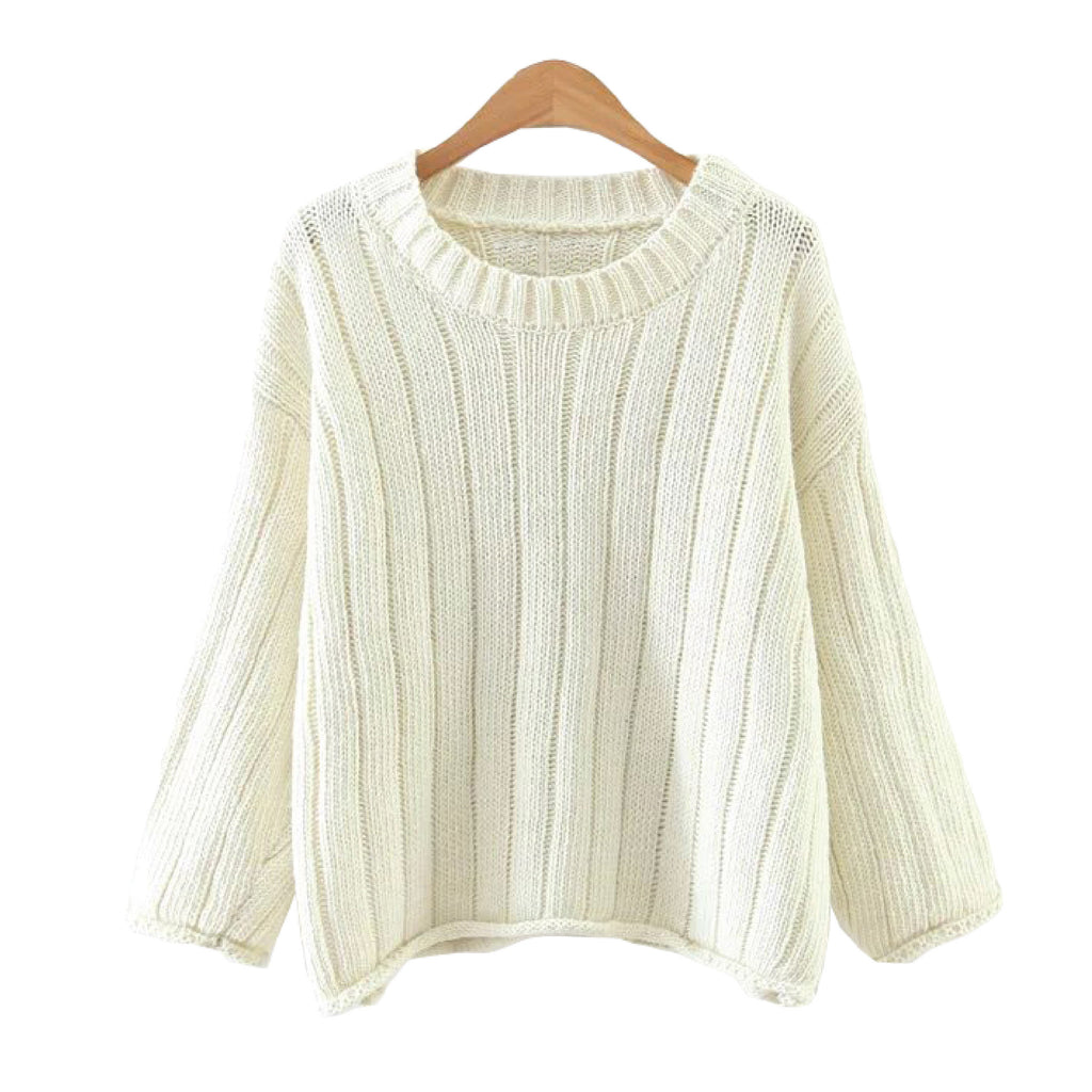 'Felicitee' Knitted Round Neck Sweater White Goodnight Macaroon